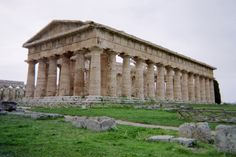 Paestum near Naples was founded in 600 B.C. by Greeks from Sybaris. The Greek settlers called the city Poseidonia in honor of the Greek sea God Poseidon. The Poseidon temple or Neptune temple is from about 450 B.C. (about the same time the Parthenon in Athens was built). This temple is probably the best preserved Doric temple in the world.