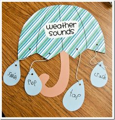 Onomatpoeia weather sounds - think of different types of weather that make sounds…thunder, lightning, wind, etc. words like splash, drip, ting!, kerplop, whoosh, whirl, ssss, howl, and so many more!  What a fun way to reinforce sound words!!
