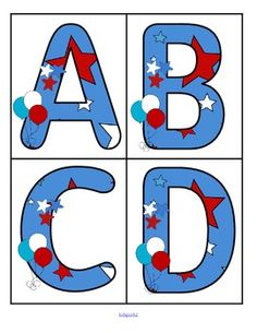 ***FREE***  This is a set of large upper case letters with a July 4th theme. 4 letters to a page.  Use to make matching and recognition games for preschool and pre-K children. Large enough for bulletin board and room décor.