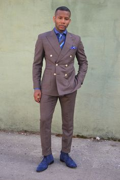 Hues of Brown & Blue featuring imparali double breasted brown suit!   See the full feature here - http://mensstylepro.com/2015/04/15/hues-of-brown-blue-with-the-double-breasted-brown-suit/