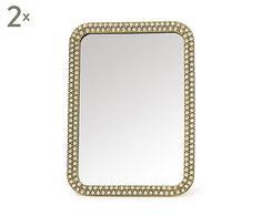 Set van 2 spiegels Diamond, goud, 16 x 11,5 cm