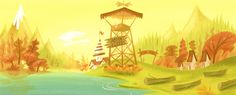 Camp Lazlo. It seems like a lot of really slapstick cartoons actually had extremely uplifting backgrounds like this.