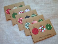 holiday DIY cards - SEASONS GREETINGS ornament holiday cards kraft CHRISTMAS cards set of 5 note cards Christmas ornaments holiday cards holiday kraft cards Christmas Card Verses, Christmas Art For Kids, Simple Christmas Cards, Homemade Christmas Cards, Christmas Gift Tags, Xmas Cards, Handmade Christmas, Christmas Ornaments, Diy Cards