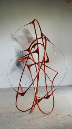 """Untitled (2007-09) from """"Between the Lines"""" series by British sculptor Oliver Barratt (b.1962). Steel, resin, paint, 185 x 110 x 110 cm."""