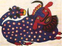 Maria Pryimachenko, Blue Bull, 1947