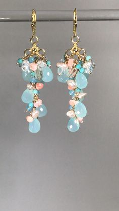 Blue Earthy Bead and Nugget Dangle earrings