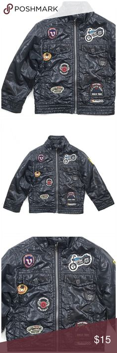1db3b5c72d7b61 Boy s 4T Motorcycle Jacket Black With Patches Super cool zip up jacket has  Motorcycle themed patches