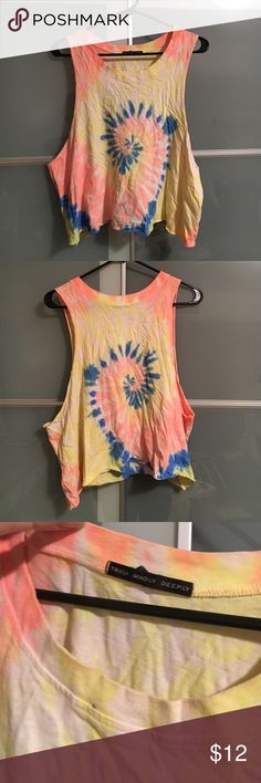 UO Tie Dye Crop Tank Truly Madly Deeply UO tie dye crop tank. Only worn maybe once. Label says L but I usually wear a S and it has a cute oversized fit. Tops Crop Tops