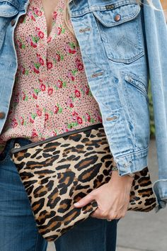 What We're Wearing: Leopard Clutch Leopard Clutch, Workwear Fashion, Work Wear, Floral Tops, Glamour, Street Style, Purses, My Style, How To Wear
