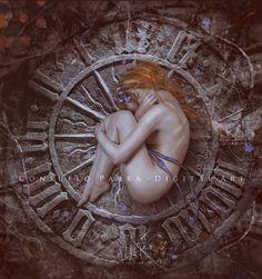 Fantasy art woman and stone