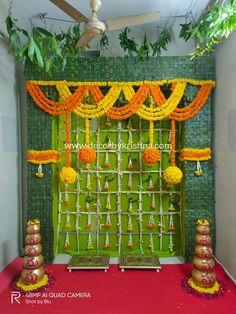 Decor by Krishna AP/ Telangana/ Karnataka/ Tamilnadu/ USA/Australia India Wedding Decorations, Diwali Decorations At Home, Desi Wedding Decor, Backdrop Decorations, Festival Decorations, Flower Decorations, Backdrops, Flower Decoration For Ganpati, Home Flower Arrangements