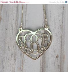 ON SALE NOW Monogram Necklace In Heart Shape In Sterling Silver, Initial Necklace, Monogram Jewelry, Personalized Monogram, Christmas Gift I - Beautiful Necklace Photo