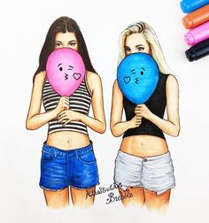 Beautiful drawing of two lovely girls