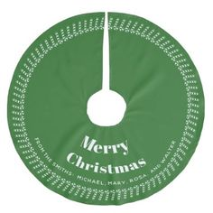 Green/White  Christmas - Your text Your Names Brushed Polyester Tree Skirt - home decor design art diy cyo custom
