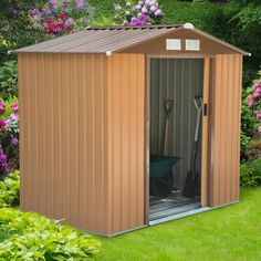 Outsunny Lockable Garden Shed Large Patio Roofed Tool Metal Storage Building Foundation Sheds Box Outdoor Furniture x 4 FT, Khaki) - Rattan Furniture SHOP UK Interior Furniture Storage Sheds For Sale, Outdoor Storage Sheds, Shed Storage, Built In Storage, Metal Storage Buildings, Metal Garages, Buy Shed, Shiplap Cladding, Wood Bike