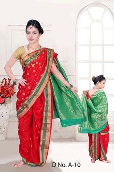 Traditional Red Bramhni Nauvari Saree  - RKSSFRTWA10