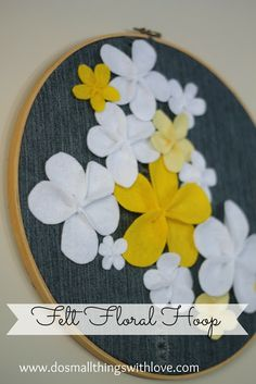 Denim and Felt Floral Hoop ---lots of pictures for making these 5 pedal flowers.  So pretty!
