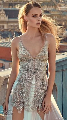 GALA by GALIA LAHAV Fall 2016 #bridal gowns sexy sleeveless spagetti strap wedding dress embellished slip mini dress with full length sheer underskirt style 605 #weddingdress #weddinggown
