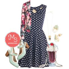 In this outfit: Love You Dots Dress, Boldest Trick in the Book Blazer, Santa Fe Charm Necklace, Bits of Bliss Earrings, I Scream, Cute Scream Bag, Be Bright There! Heel #patterns #patternmixing #fashion #modcloth #outfits #floral #polkadots #dresses #blazers #quirky #colorful #spring #summer #ootd