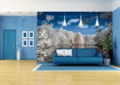 Create a feature wall in your living room with a handmade modern fresco to personalize your space.