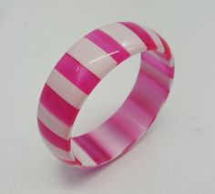 Vintage Pink and White Striped Cased Lucite Bangle Bracelet