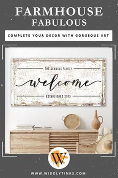 Rustic Farmhouse Family Welcome Sign - Widdlytinks Wall Art Farmhouse Kitchen Signs, Farmhouse Wall Decor, Vintage Farmhouse, Modern Farmhouse, Wedding Gifts For Newlyweds, Newlywed Gifts, Wall Decor Design, Unique Wall Decor, Large Canvas Wall Art