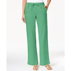 Charter Club Linen Pull-On Drawstring Pants, ($35) ❤ liked on Polyvore featuring pants, chilled mint, pull on trousers, charter club pants, drawstring trousers, mint pants and linen pants