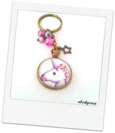 porte clés bijoux de sac licorne bronze cabochon par alodycrea keyring  unicorn - keychain unicorn - 75b2bfb928c