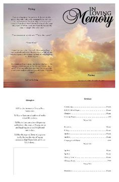 Funeral Program Template For Funeral Program Edit And Get Pdf Online