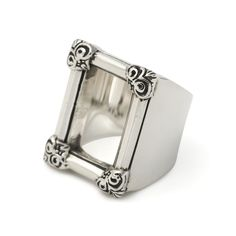 The Great Frog 'Frame' Ring, perfect for finger tattoos. Handmade in London from hallmarked .925 British sterling silver.