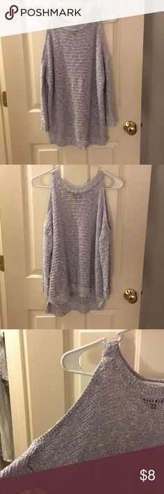 Open shoulder sweater Light purple-grey open shoulder sweater. Great condition. Worn once. Express Sweaters