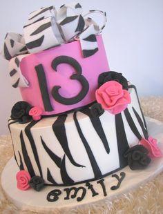 13TH BIRTHDAY CAKE...ZEBRA CAKE HOT PINK, BLACK AND WHITE