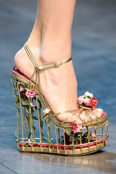 Dolce & Gabbana | Rose-embellished metallic leather cage sandals | Fall 2013 RTW Milan Fashion Week