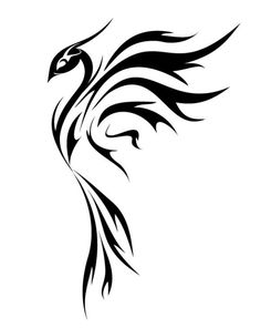 Black Tribal Phoenix Tattoo Stencil