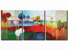 Wiejski krajobraz i sielankowa sceneria na obrazie inspirowanym kolorowymi kolażami #obraz #obrazy #obrazmalowany #pejzaż #drzewa #kolaż #kolorowypejzaż