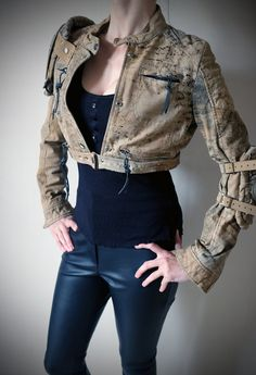Apocalypse Jacket Real Leather - Sand - mad max, road warrior, burning man, cosplay, fury road