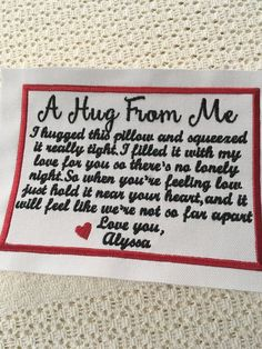 Memory Pillow From Shirt, Memory Pillows, Memory Quilts, Baby Quilts, Quilting Quotes, Quilting Ideas, Memory Crafts, Quilt Labels, Fabric Labels