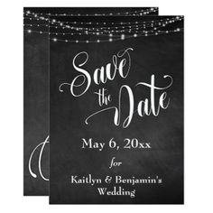 Chalkboard White Lights & Script Save the Date Card - light gifts template style unique special diy