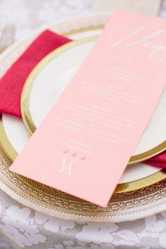 Pink wedding menu: http://www.stylemepretty.com/texas-weddings/dallas/2014/09/29/modern-romeo-and-juliet-inspired-shoot/ | Photography: Lindsey Shea - http://www.lindseysheaphotography.com/