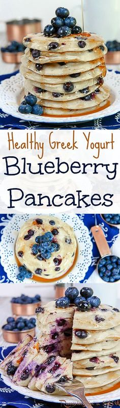 Greek Yogurt Blueberry Pancakes recipe / Running in a Skirt