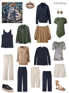 13-piece travel capsule wardrobe in navy, beige, camel and green  -  use black and beige