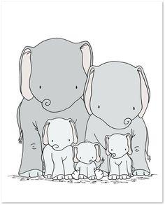 Elephant Nursery Art Print -- Elephant Family Art -- Elephant Family of Five -- Kids Wall Art -- Nursery Decor -- Neutral Nursery Elephant Artwork, Elephant Nursery Art, Elephant Family, Little Elephant, Baby Elephant, Elephant Illustration, Family Illustration, Illustration Art, Scrapbooking Image
