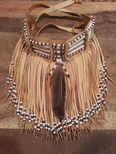 Native American leather fringed choker by CreativeNative54 on Etsy, $90.00