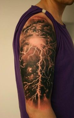 Realistic thunder clouds and lightning tattoo - I love the look of this. Makes you appreciate the beauty of lightnings. #TattooModels #tattoo