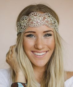 Another great find on #zulily! Gold Floral Lace Headband by Three Bird Nest #zulilyfinds