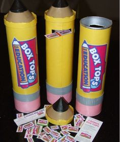 Use old chip cans to make Box Tops pencil displays and collection bins for your school. All you need is a chip can, construction paper, scissors and glue!