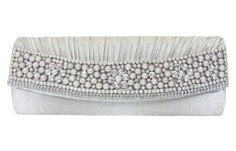 Pearls and Rhinestones Silver Satin Clutch Evening Bag Shoulder Bag Handbag -- You can get more details by clicking on the image.