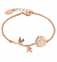 Rose Gold Plated Beauty & The Beast Rose Bracelet from Disney Couture. Rose gold plated chain with engraved rose pendant. Presented in a branded Disney Couture pouch. Long Pearl Necklaces, Gold Necklace, Silver Earrings, Pendant Necklace, Silver Ring, Bijoux Or Rose, Blog Art, Gold Plated Bracelets, Jewelry Bracelets