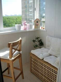 Exterior:Small Balcony In White Decor With Wooden Cozy Nook And Chair Also Large Windows Many Inspiring Designs for Your Simple Storage Balc...