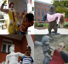 posing with statues